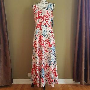 Chaps Maxi Sleeveless Dress Floral White Red sz XL